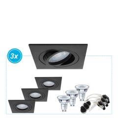 LED inbouwspot Alon zwart, 3 stuks