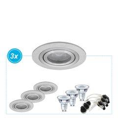 Led inbouwspot Palmer aluminium, set van 3