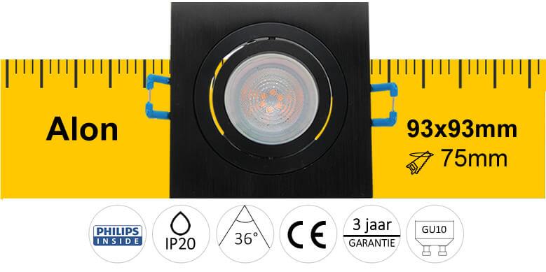 LED Inbouwspot Alon vierkant zwart
